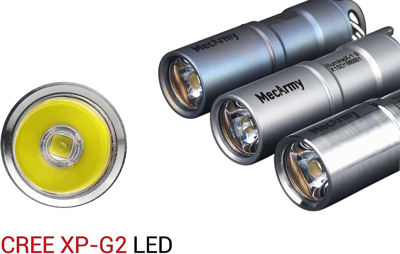 Imageof MecArmy mini eychain flashlights in silver color.