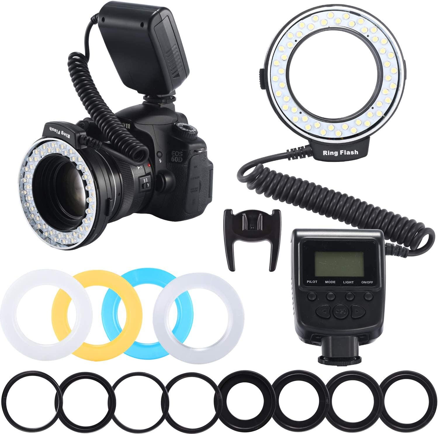 Emiral Macro LED Ring Flash Kit with LCD Display Power Control, Adapter Rings and Flash Diffuser for Canon, Nikon DSLR Cameras