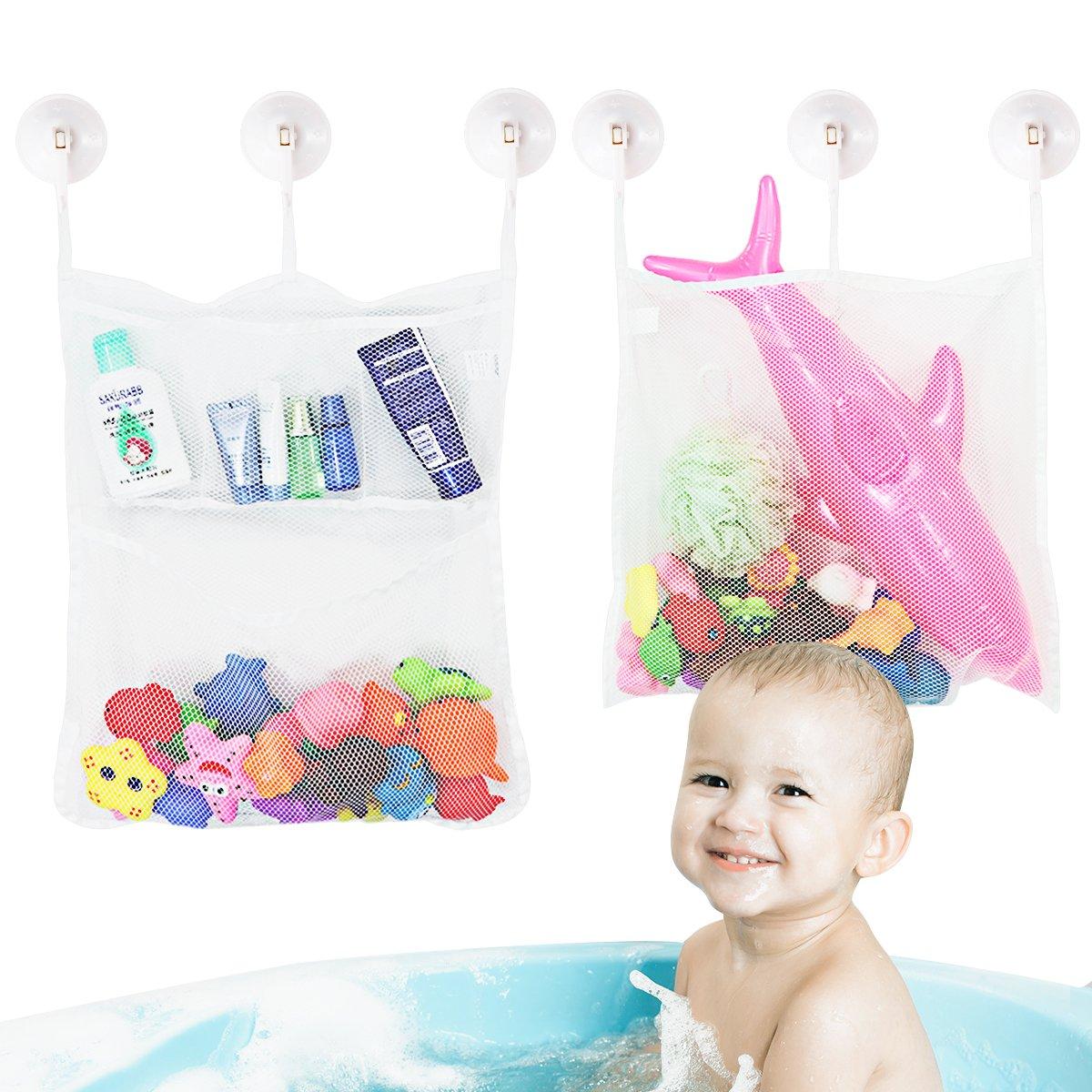 TOYMYTOY Baby Spielzeug Tasche Baby Spielzeug Organisator Badewanne Spielzeug Netz Badezimmer Lagerung Net 2 St/ück mit 6 Saughaken