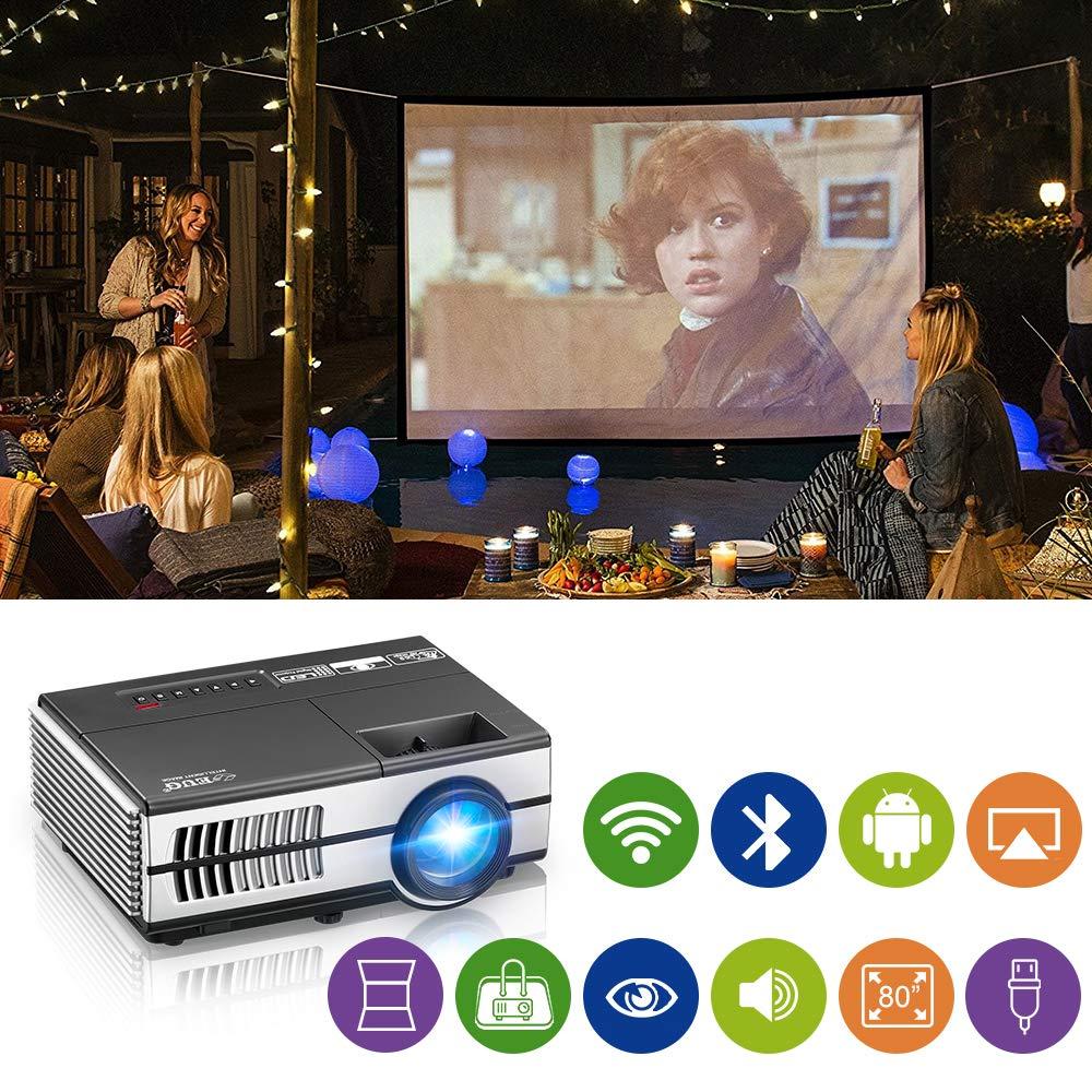 Mini portá til inalá mbrico Bluetooth para Cine en casa Ví deo LCD Proyector Compatible 1080P 720P, Salida de Audio HDMI USB AV Altavoces Entretenimiento al Aire Libre Pelí culas Juegos WIKISH