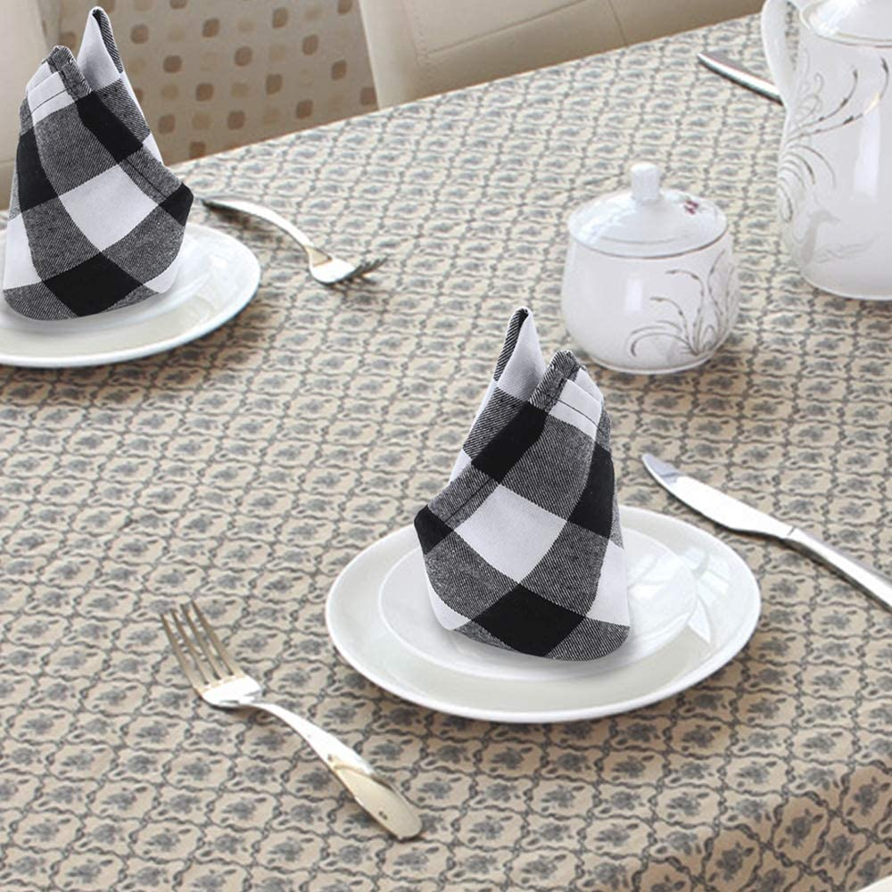 GFCC Plaid Dinner Cloth Napkins 20x20inch 10PCS Washable Cotton Buffalo Check Napkins Black and White Wedding Party Napkins with Napkin Rings