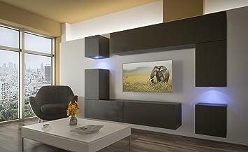 Home Direct Prag N5, Modernes Wohnzimmer, Wohnwände, Wohnschränke,  Schrankwand (Schwarz Matt