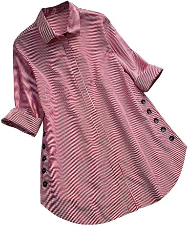 Womens Loose T Shirt Dress,Ladies Buttons Long Sleeve Stand Collar Solid Pocket Plus Size Dress