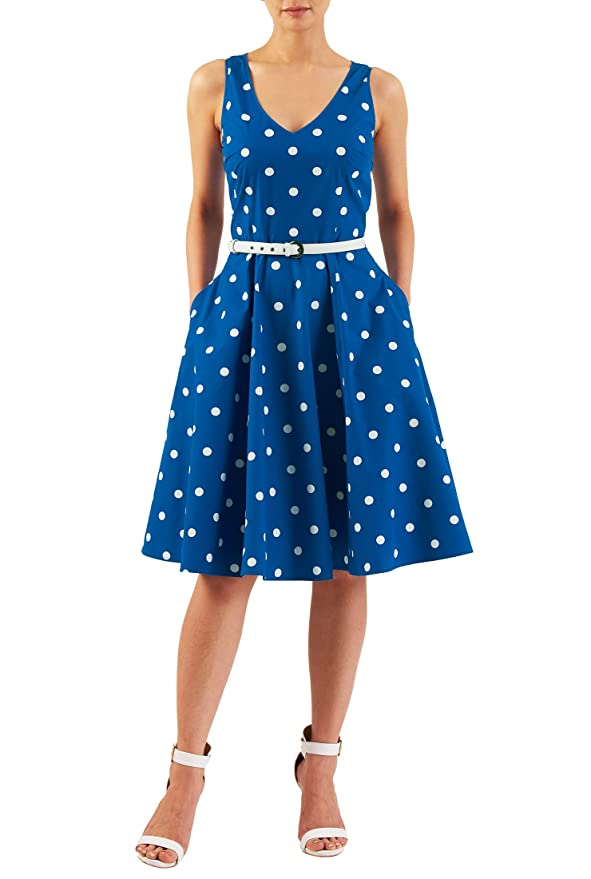 Plus Size Retro Dresses eShakti Womens Polka dot print cotton belted dress $49.95 AT vintagedancer.com