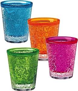 """Ultra Cool"" Freezable Gel Shot Glasses-2 Oz-Blue, Pink, Orange and Green"