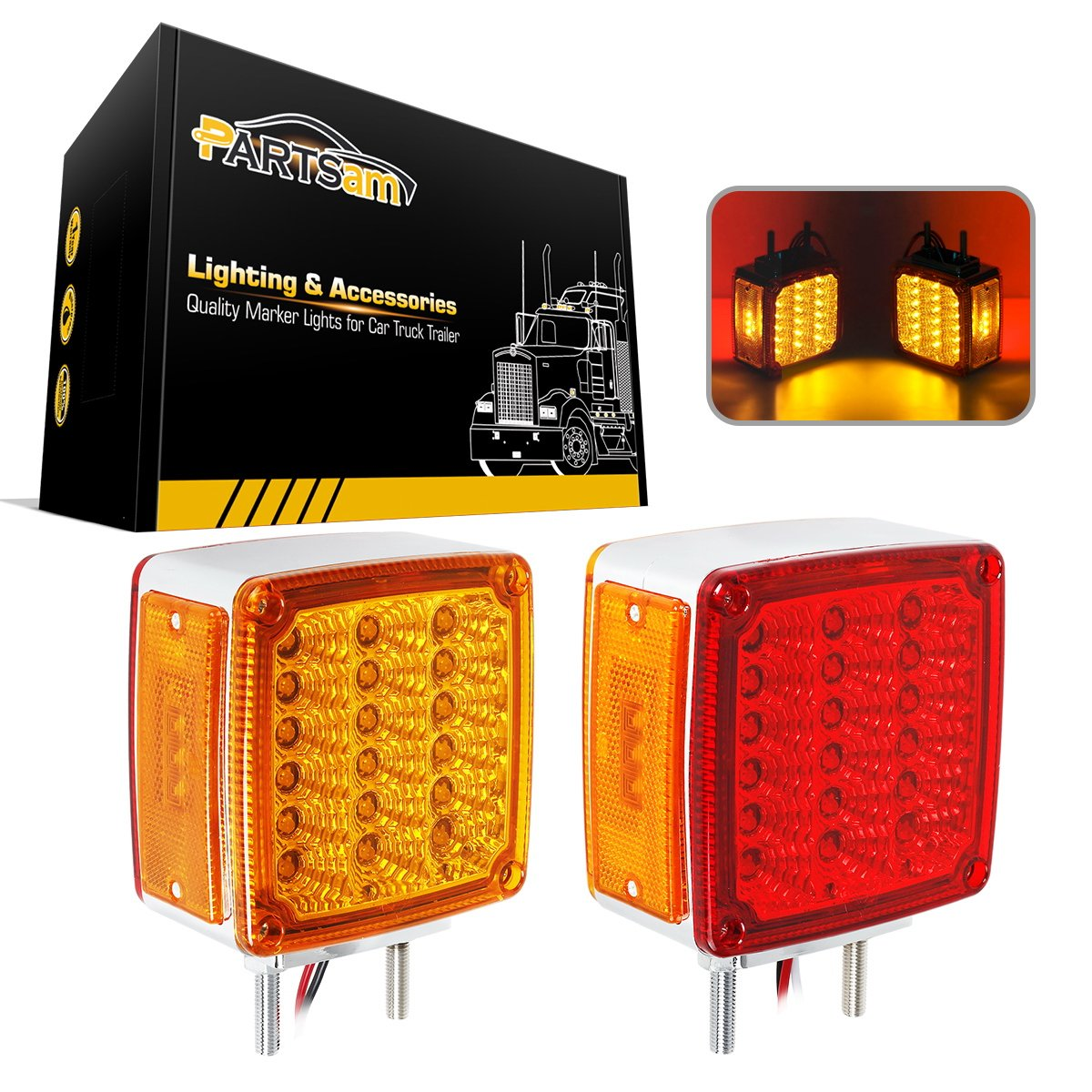 Partsam 2x Truck Trailer Square Double Face Pedestal Stop Turn Tail Light Amber/Red 39 LED for Peterbilt Freightliner Kenworth Mack Western Star UMS LED-2F