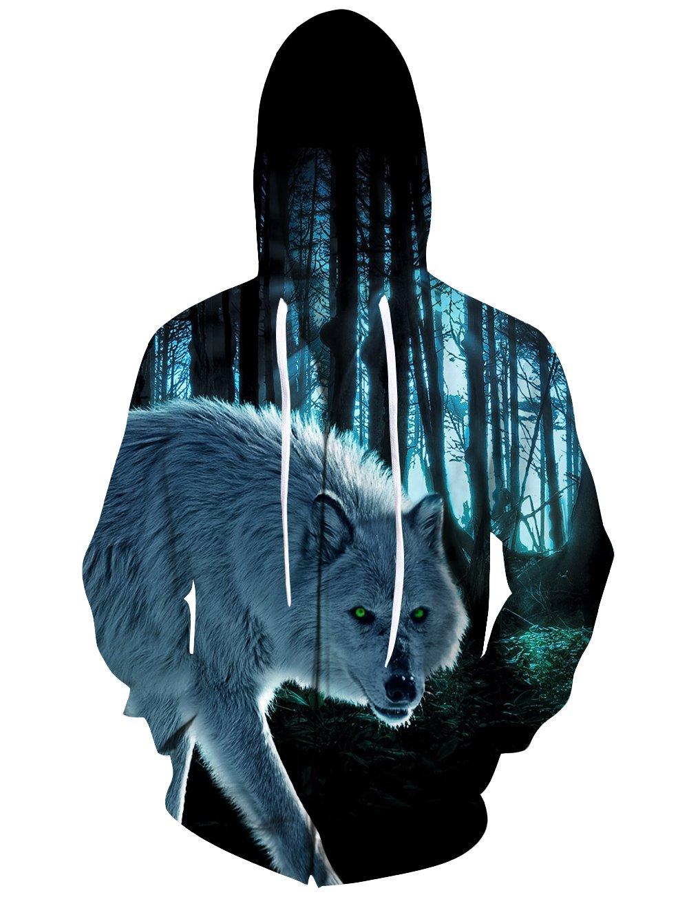 Idgreatim Large Mens Sweatshirt with Pockets 3D Printed Hoodies Wolf Hooded Sweatshirts