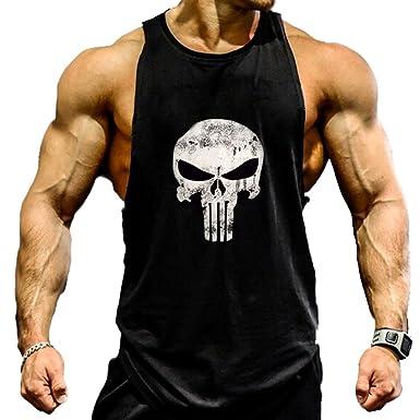 2f91bcc1c1436 A. M. Sport Camisa Camiseta Hombre Tirantes Culturismo Fitness Deportiva.  Ropa Deporte Masculina para Entrenar Gym (Castigador Negra)  Amazon.es   Ropa y ...