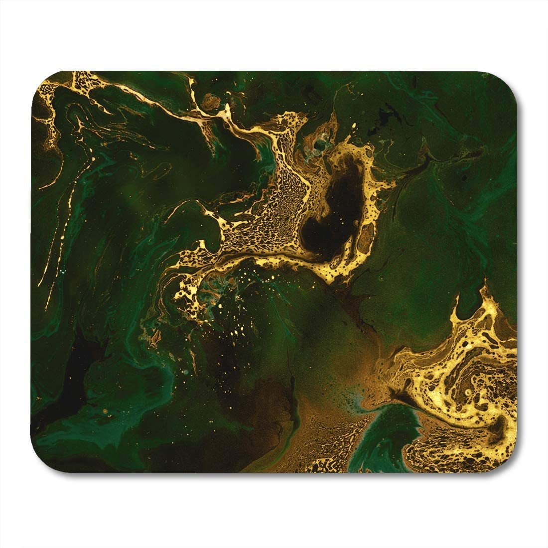 SYMSPAD Mouse Pads Green Gold Emerald and Golden Mixed Paints Creative Technique Marble Watercolor Water Mousepad 8.6 X 7.1 in for Laptop,Desktop Computers Accessories Mini Office Supplies Mouse Mats