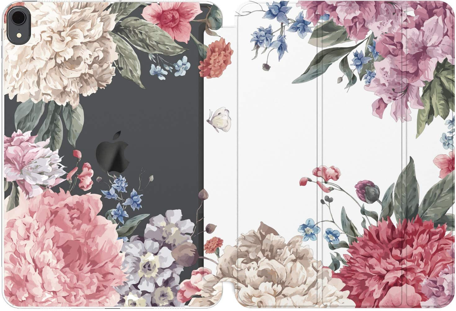 Cavka Case for Apple iPad 10.2 8th Gen 12.9 Pro 11 10.5 9.7 Air 3 Mini 5 4 3 2 1 2019/18 Flower Beauty Lightweight Protective Floral White Petal Pink Lush Plant Peony Magnetic Closure