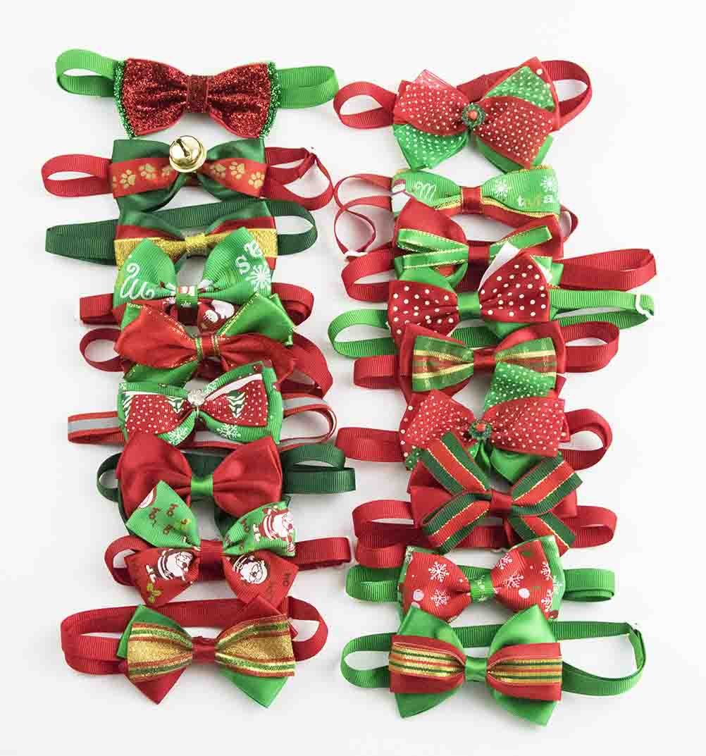 PET SHOW Christmas Costume Cute Cats Small Dogs Bow ties Collar Adjustable Bowties Neckties Xmas Pet Grooming Accessories Assorted Randomly Pack of 50