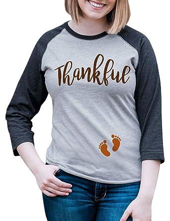 764c44b3 7 ate 9 Apparel Womens Thankful Thanksgiving Pregnancy Announcement Raglan  Tee Small Grey