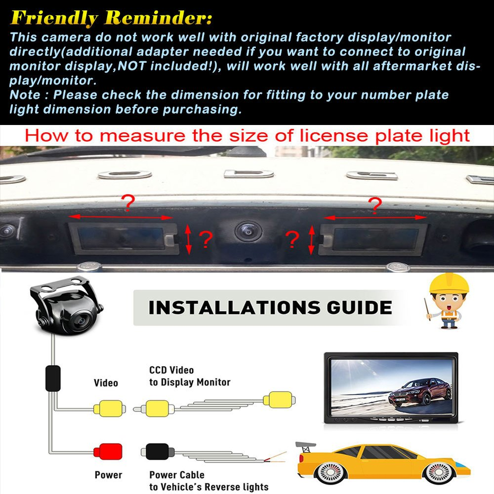 Reversing Vehicle-Specific Camera Integrated in Number Plate Light License Rear View Backup Camera for Mazda 3 Hatchbac//Axela 2014 2015 QINGTIAN