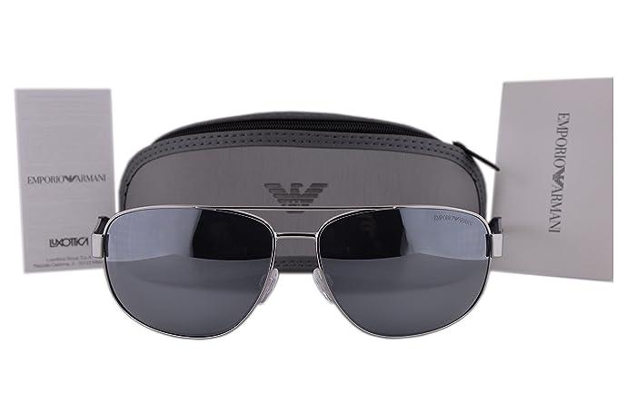 1709d0b5cf7 Image Unavailable. Image not available for. Colour  Emporio Armani EA2036 Sunglasses  Gunmetal Silver w Light Grey Mirror Lens ...
