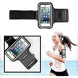 SAVFY Noir Brassard Armband Sport Anti-Sueur avec Porte-clés pour iPhone SE 5 5S 5C 5SE 4 4S pour le Jogging / Gym / Sport - confortable avec sangle réglable