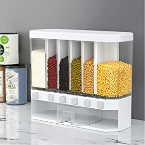 Wall Mounted Dry Food Dispenser - 6-Grid 12L Large Capacity Storage Dry Food Dispenser, Free Control of Cereal Output, Dry Food Fruit Storage Box For Home and Kitchen
