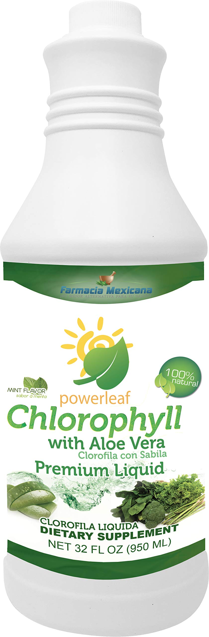 Chlorophyll Powerleaf Premium Liquid 32 oz - 100% Liquid Extract - Clorofila Liquida (with Aloe Vera & Mint)
