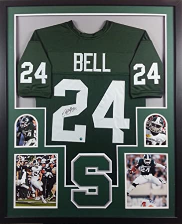 e39f7b2c8 Image Unavailable. Image not available for. Color: LeVeon Bell Michigan  State Spartans Autograph Signed Custom Framed Jersey ...