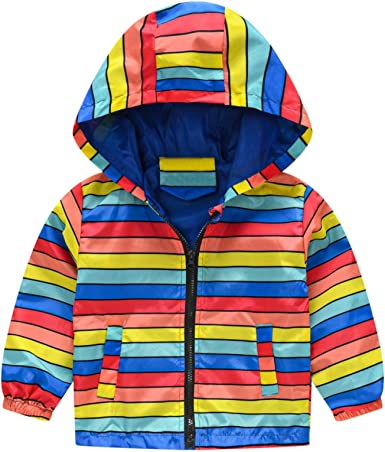 Toddler Boys Girls Jacket Thin Long Sleeve Hooded Trench Cartoon Print Lightweight Kids Coats Windbreaker Outdoor