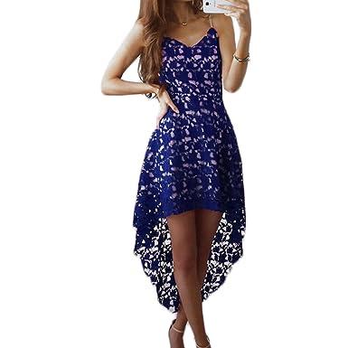 cda8a4876e4dc4 Frauen Mode V-Ausschnitt ärmellos Sling Asymmetrisch Vorne Kurz hinten Lang  Spitze Lang Kleider Trägerkleid Beachwear Strandkleider Spitzenkleider ...