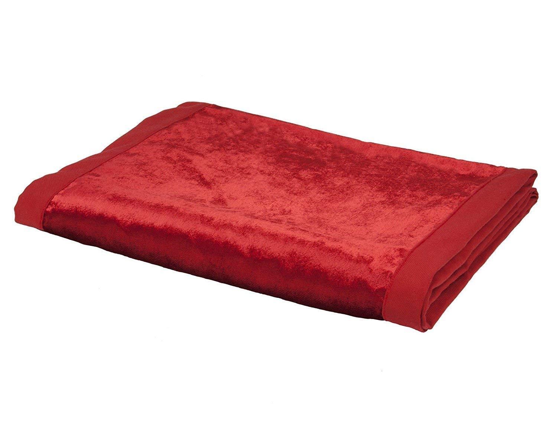 McAlister Textiles Manta de Terciopelo Brillante, Ideal para sofá, Cama, sillones, Terciopelo, Rojo, Table Runner (34cm x 274cm)