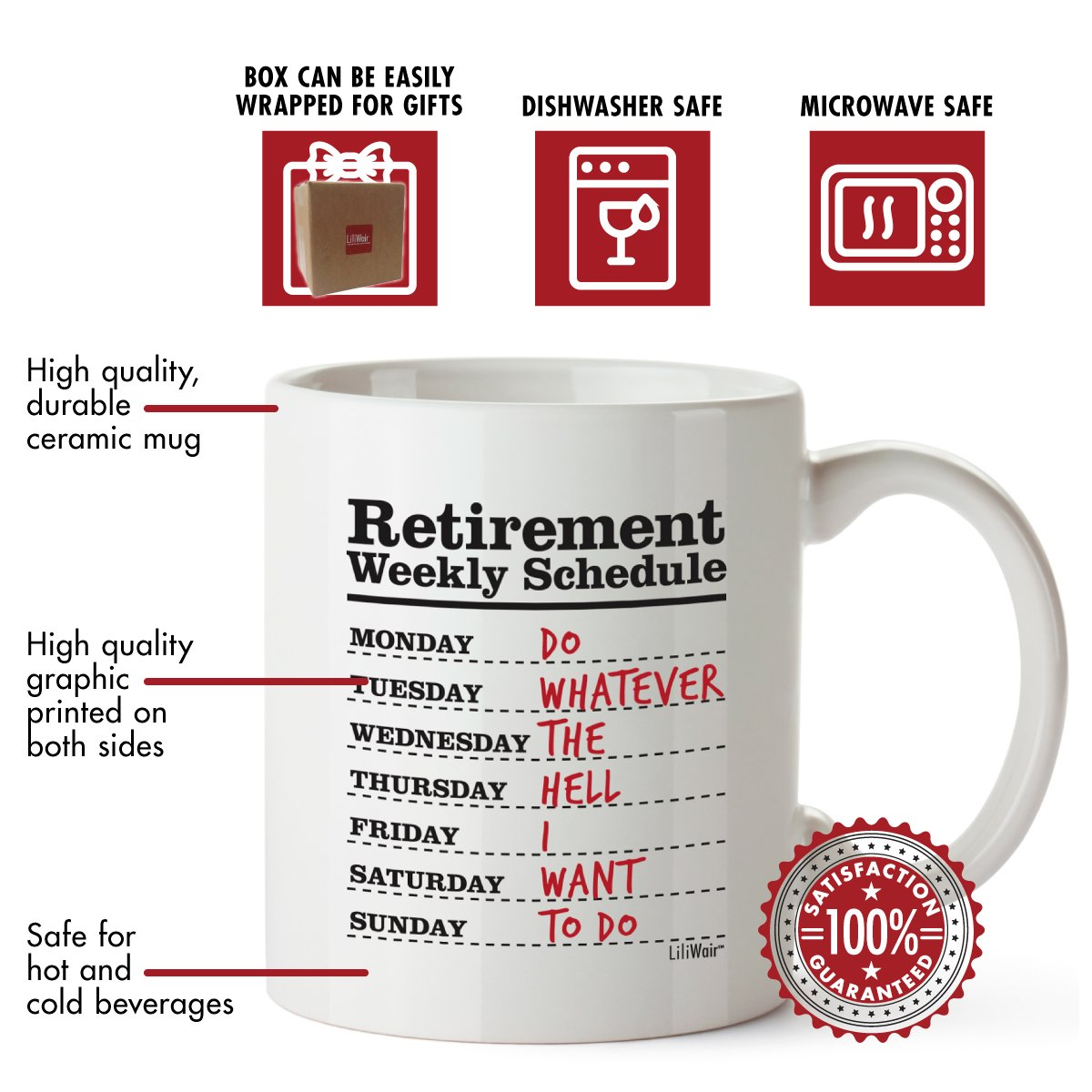 Funny Retirement Gifts for Women Men Dad Mom. Retirement Coffee Mug Gift. Retired Schedule Calendar Mugs for Coworkers Office & Family. Unique Novelty Ideas for Her Nurses Navy Air Force Military Gag by LiliWair (Image #4)