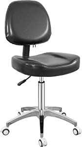 Armless Office Task Chair Rolling Stool for Workbench Shop Work Office Esthetician Massage Tattoo,Adjustable Swivel Stool Chair (Black)