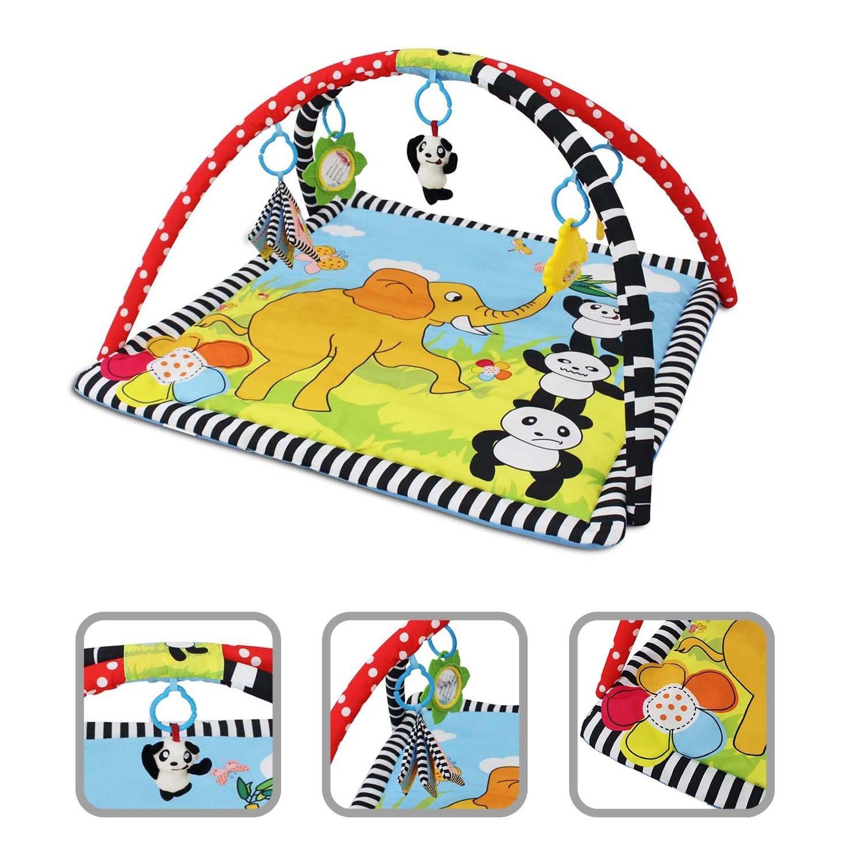 Todeco - Estera de Juego para Bebés, Alfombrilla de Juego para Bebés - Juguetes educativos: (1x) Juguete sonajero de felpa (1x) Juguete sonajero de plástico (1x) Libro de lienzo (1x) Espejo (1x) Anillo mordedor - Material: Espuma PU de rebote alto - Patrón