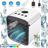 3 in 1 Klimaanlage Luftkühler, Luftbefeuchter und Luftreiniger, Tragbare Klimaanlage Luftkühler für Büro, Hotel, Garage, 3 Stufen und 7 Farben LED Nachtlicht (Weiß)