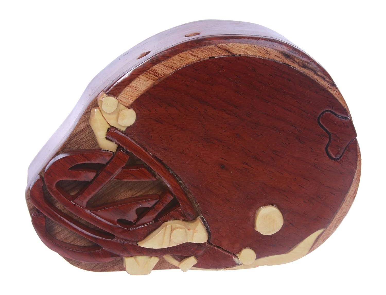 Football helmet Handcrafted Wooden Football helmet Shape Secret Jewelry Puzzle Box