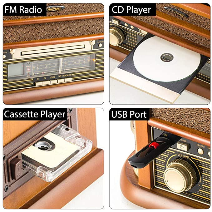 Tocadiscos de 7 en 1 SHUMAN - Reproductor de Giradiscos , FM Radio ...