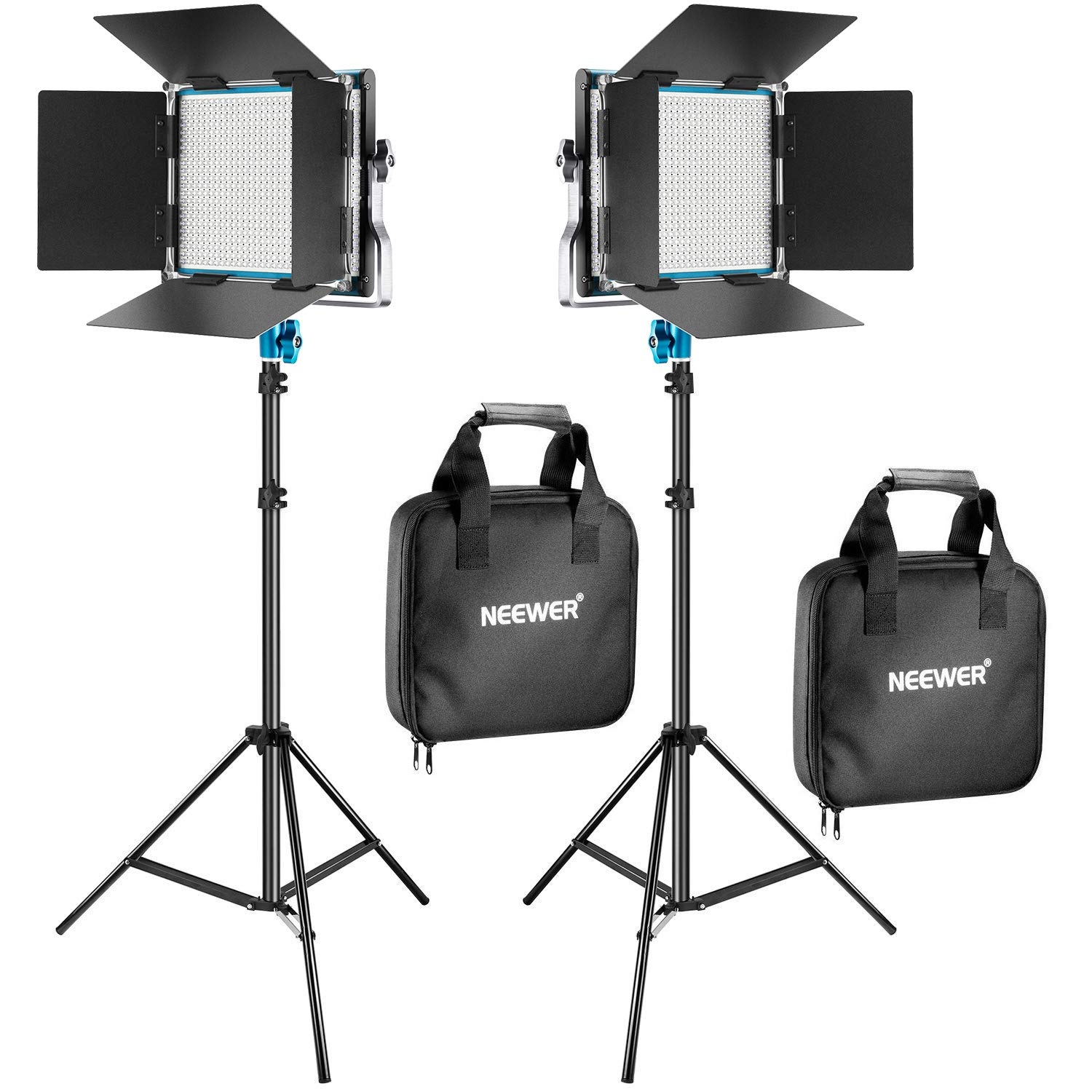 Neewer 2 Packs 660 LED Video Light and Stand Photography Lighting Kit: Dimmable LED Panel (3200-5600K, CRI 96+, Blue) with Heavy Duty Light Stand for Studio Portrait Product Video Shooting