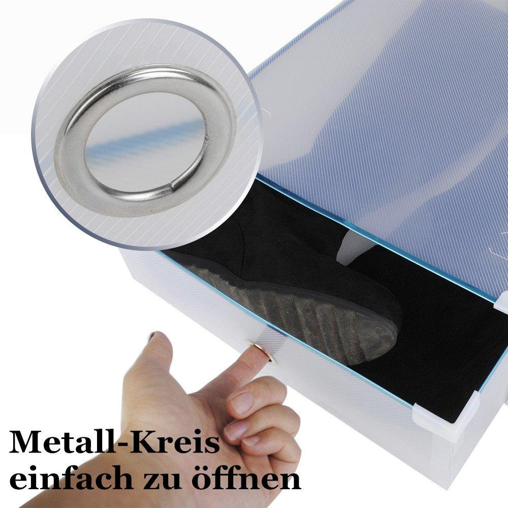 5x Schuhbox Set Schuhboxen Stapelbar Transparent für Stiefel Stiefelbox Schuhkasten Schuhkarton Schuhschachtel Schubladen Schuhaufbewahrung Aufbewahrungsboxen Multizweck 52x30x11cm Wasserrhythm