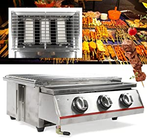 Commercial Gas Grill Barbecues Outdoor BBQ Tabletop Cooker 3-Burner No Fire Adjustable Height Stainless Steel Propane Gas LPG