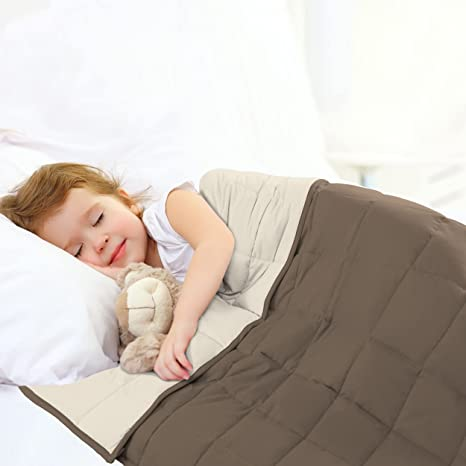Joyching Kids Weighted Blanket 7 Pounds Reversible Cooling Heavy Blanket Super Soft Microfiber Material with Premium Glass Beads Brown//Khaki, 41x60 inches