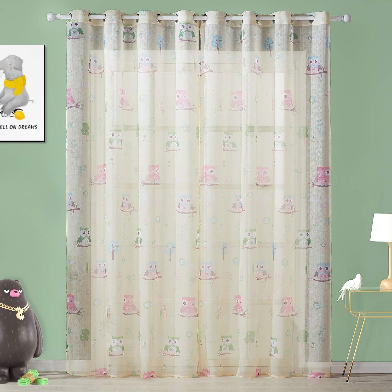 Sahne HxB Topfinel Voile Vorh/änge mit /Ösen Lichtdurchl/ässige Gardinen Kurz mit Eulenmustern f/ür Kinderzimmer Wohnzimmer Fenster 2er Set je 137x117cm