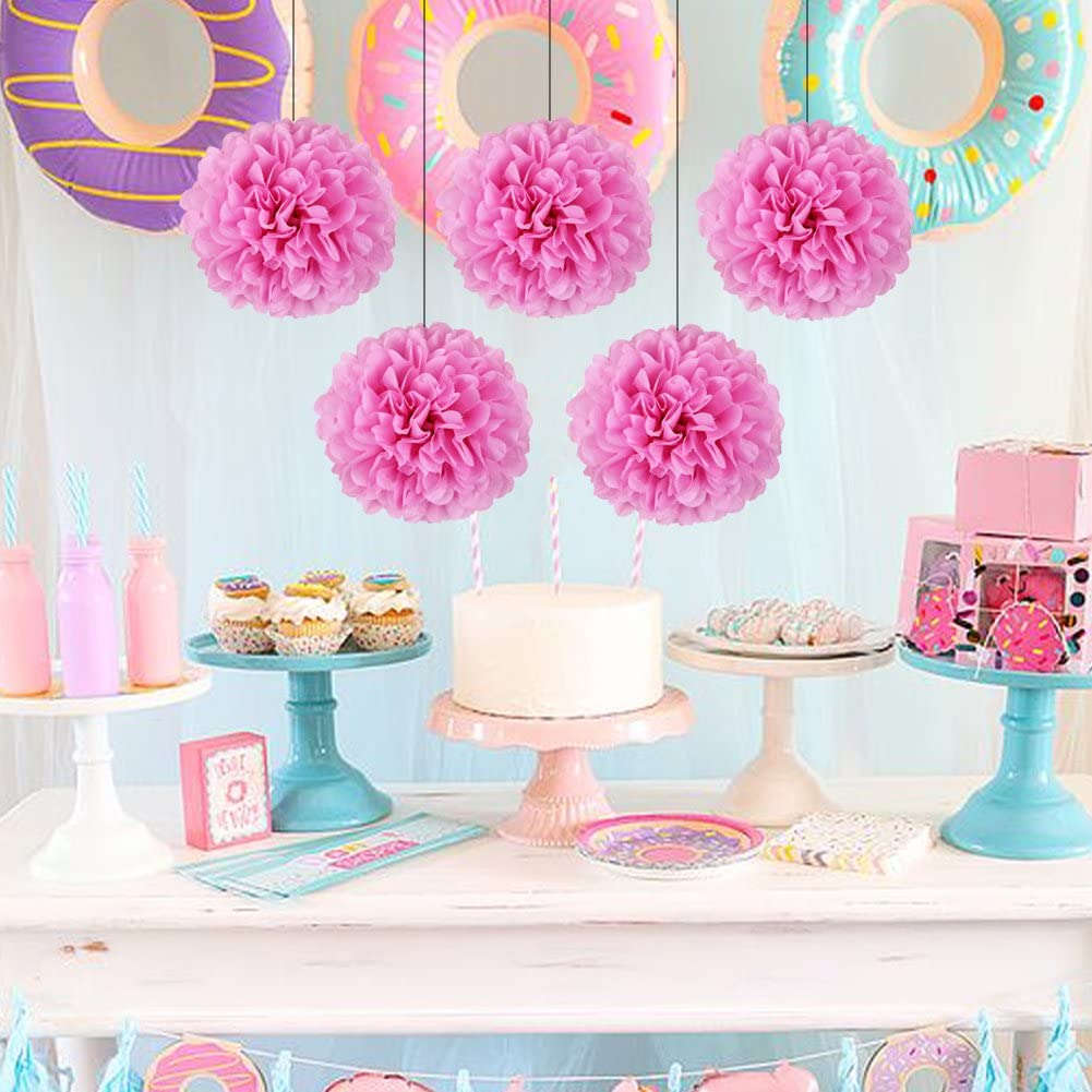 SUNBEAUTY Birthday Party Decoration Happy Birthday Bunting Banner Paper Pom Poms Hanging Swirls for Girls Birthday Party Supplies pink