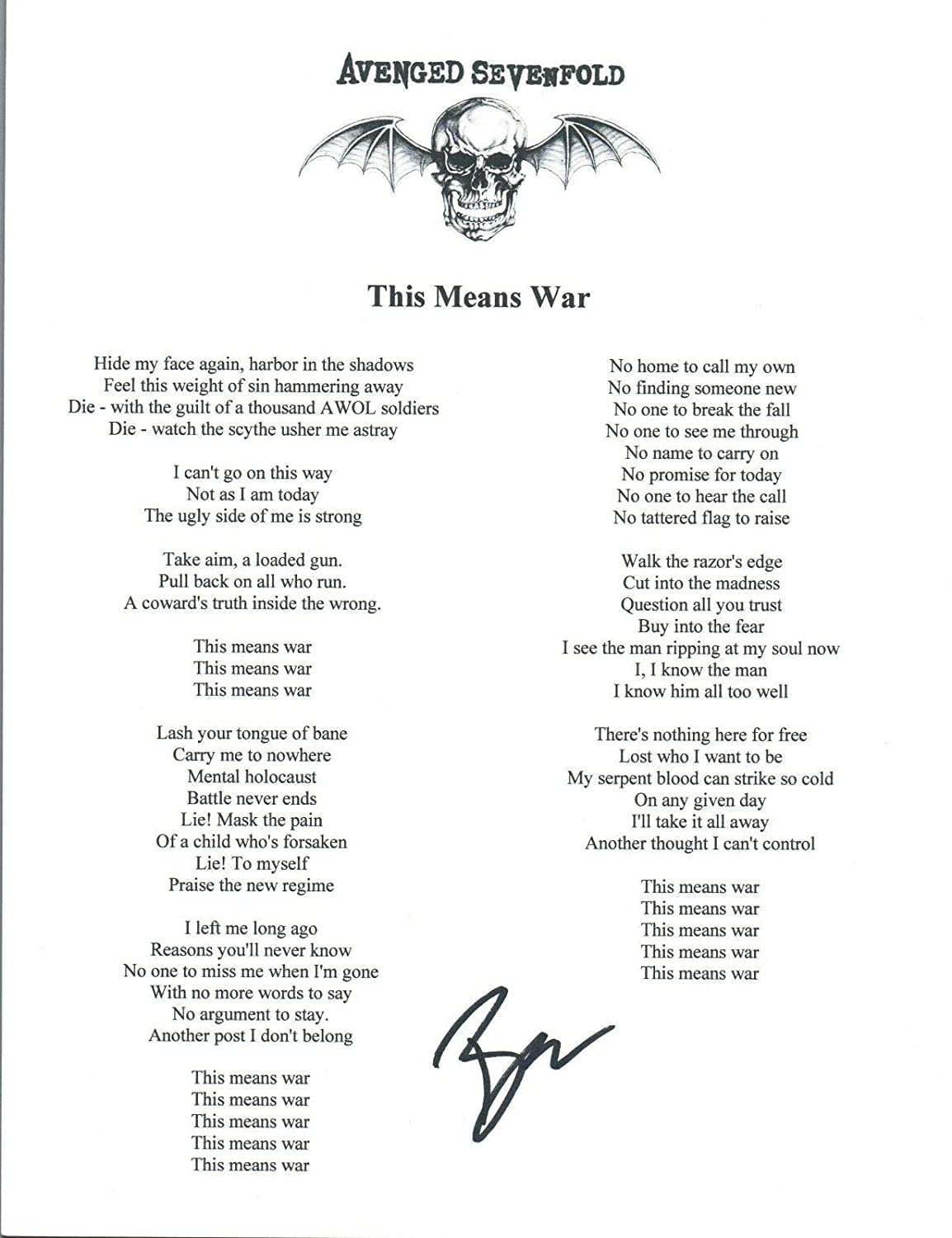 Brooks Wackerman Signed Avenged Sevenfold THIS MEANS WAR Song Lyric