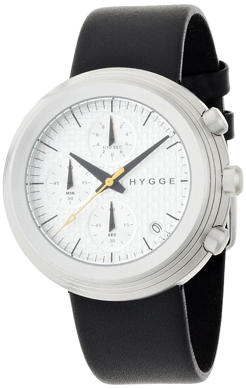 Hygge 2312 Unisex Quarzuhr mit Weiß Zifferblatt Chronograph-Anzeige und schwarz Lederband msl2312 C (CH)