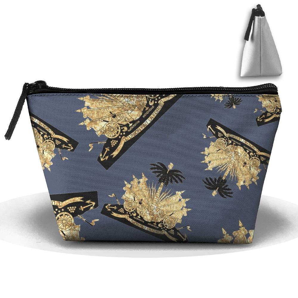 Haiti Coat Of Arms Women Men Foldable Makeup Pouch Portable Skincare Cosmetic Pouch Bag