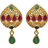 Joyalukkas Ratna Collections 22k (916) Yellow Gold and Emerald Drop Earrings