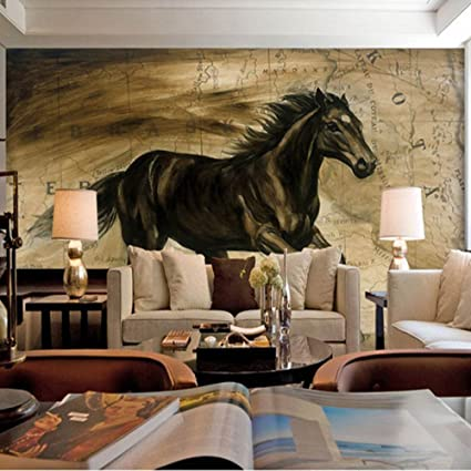 Colomac Wall Mural 3D Pentium Black Horse Mural Suitable For Living Room  Sofa TV Background Wall