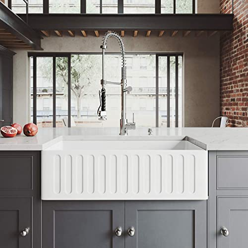 VIGO 33 inch Farmhouse Apron Single Bowl Matte Stone Kitchen Sink and Zurich Chrome Faucet Set