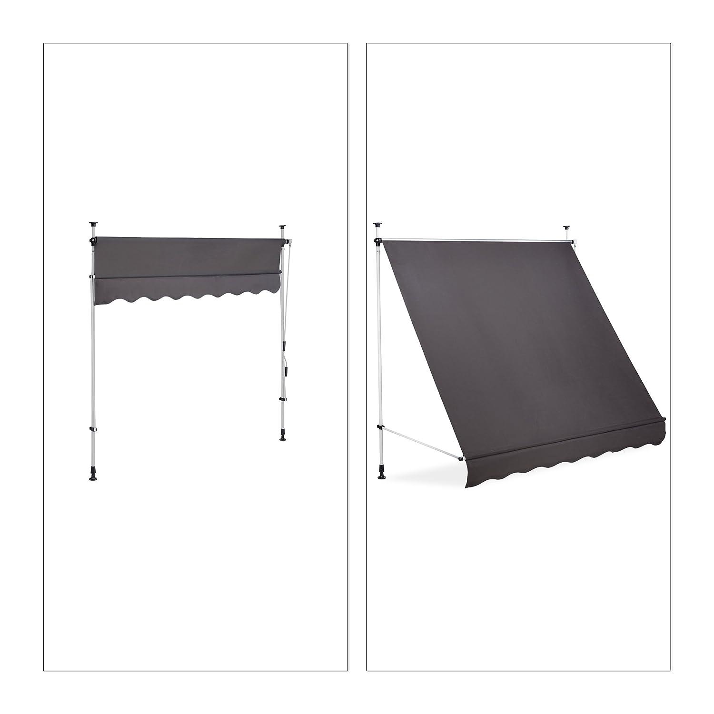 Relaxdays Store Balcon Manivelle Hauteur Reglable Resistant Uv Polyester Acier Embouts 200 X 120 Cm Gris