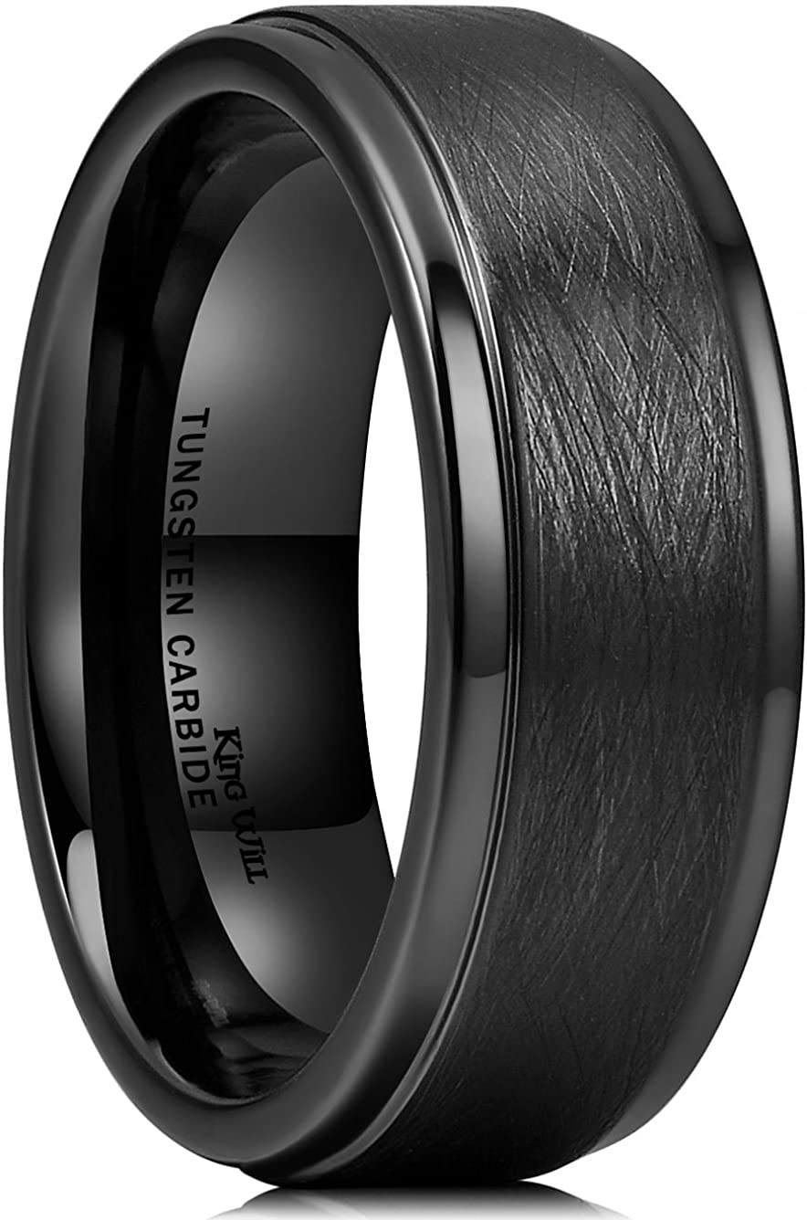 King Will Classic 8mm Tungsten Carbide Ring Black Brushed Two Grooved Center Mens Wedding Band
