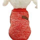 ふく福 可愛い ペット小中型犬猫用 Tシャツ セータードッグウェア 暖かい 防寒 コート春秋冬服 綿製 お散歩お出かけウェアに (M, 赤)