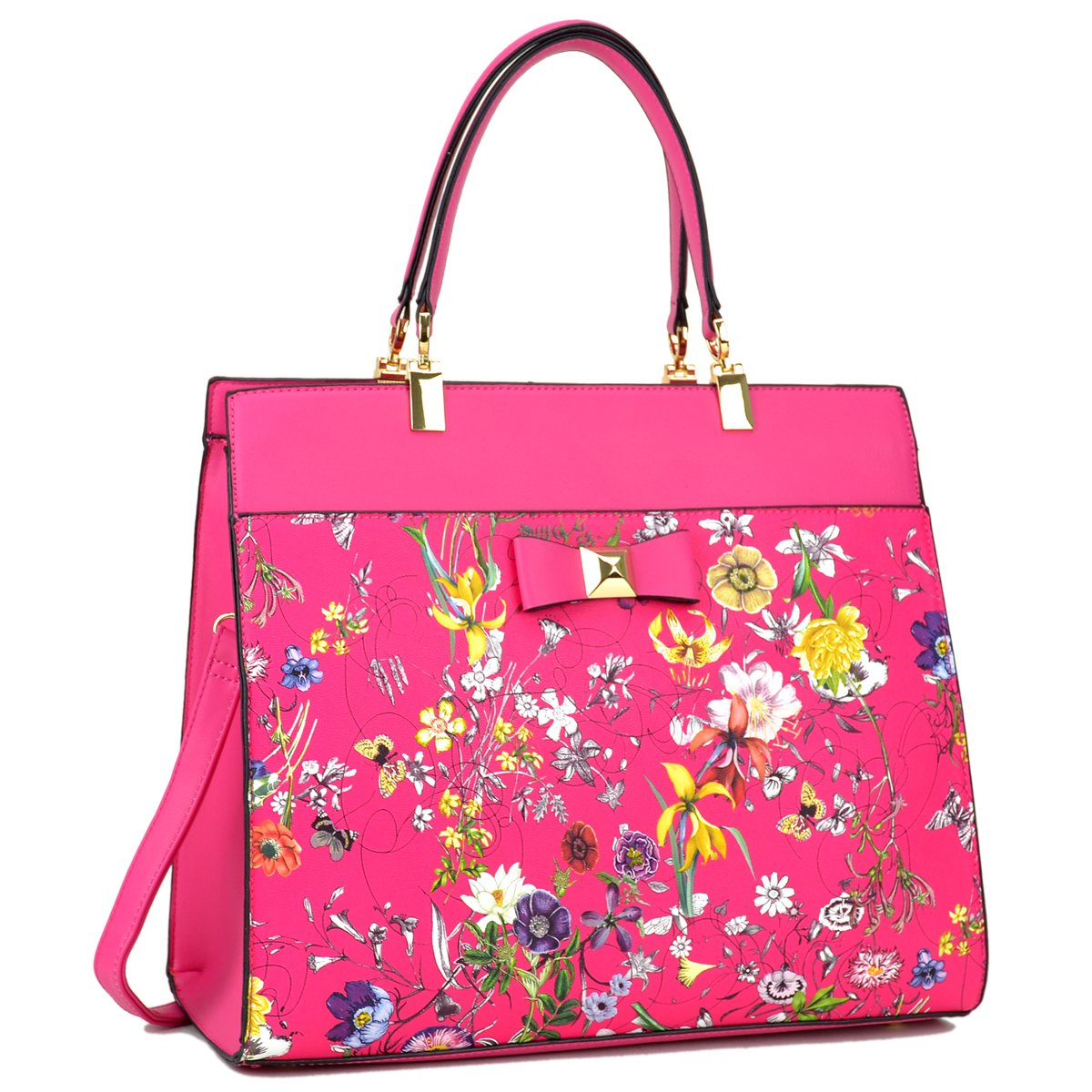 Dasein Women's Fashion Designer Satchel Handbags Purse Shoulder Bag Work Bag With Removable Shoulder Strap (F-6338 Fuchsia Floral)