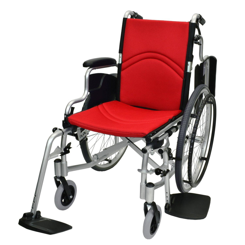 ケアテックジャパン 自走式 アルミ製 折りたたみ 車椅子 コンフォート CAH-50SU (レッド) B071R3FYLV レッド(メッシュ) レッド(メッシュ)
