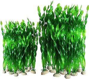 Smoothedo-Pets 7.8/12INCHES-20PCS Set Artificial Seaweed Decor Plastic Aquarium Plants Plastic Plants for Aquarium Plastic Fish Tank Plant Decorations