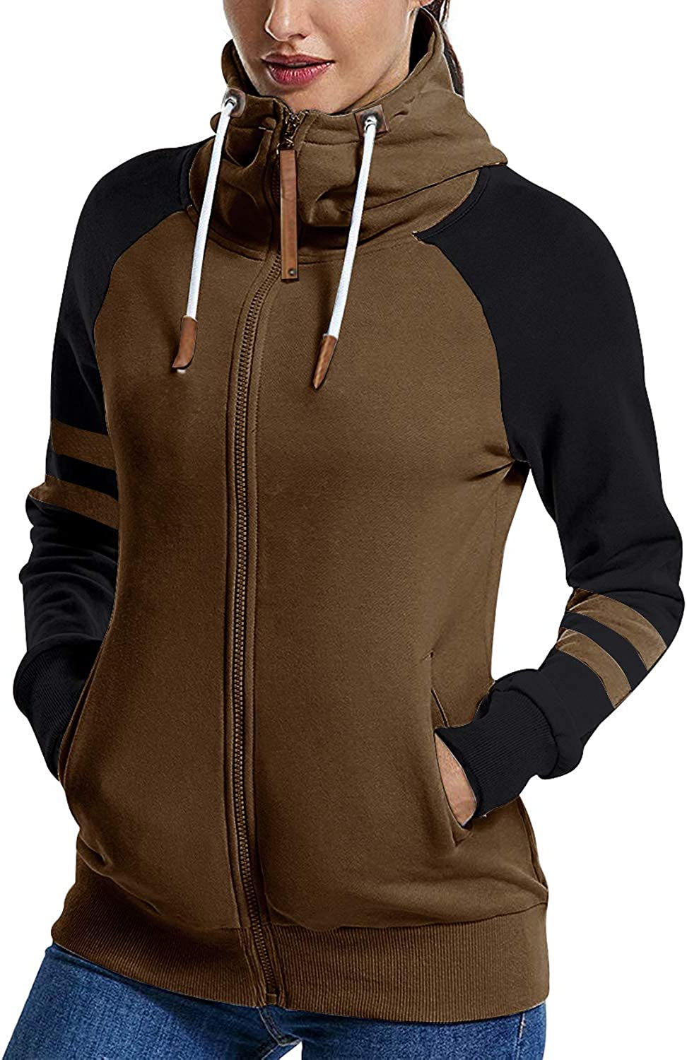Hiistandd Women Hoodies Sweatshirt Winter Warm Hoodie Zip Up Fleece Hooded Zipper Hoody Outerwear Jacket Coat Long Sleeve Jumper Long Tops Hooded Jumper Brown N7